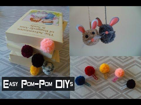 DIY: Easy Pom-Pom Ideas: a Bookmark, a Paperclip, & a Keychain | My Crafting World