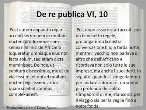 Paragrafo 10 del libro sesto del De re publica di Cicerone