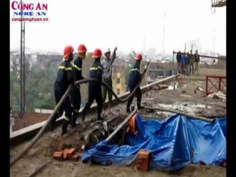 TP Vinh: Cháy tại tòa nhà cao tầng đang xây