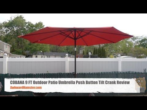 Cobana 9 Ft Outdoor Patio Umbrella Push Button Tilt Crank Review