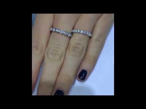 White gold halfway diamond wedding bands
