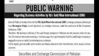 GMI.public Warning.Regarding business activites gold mine international