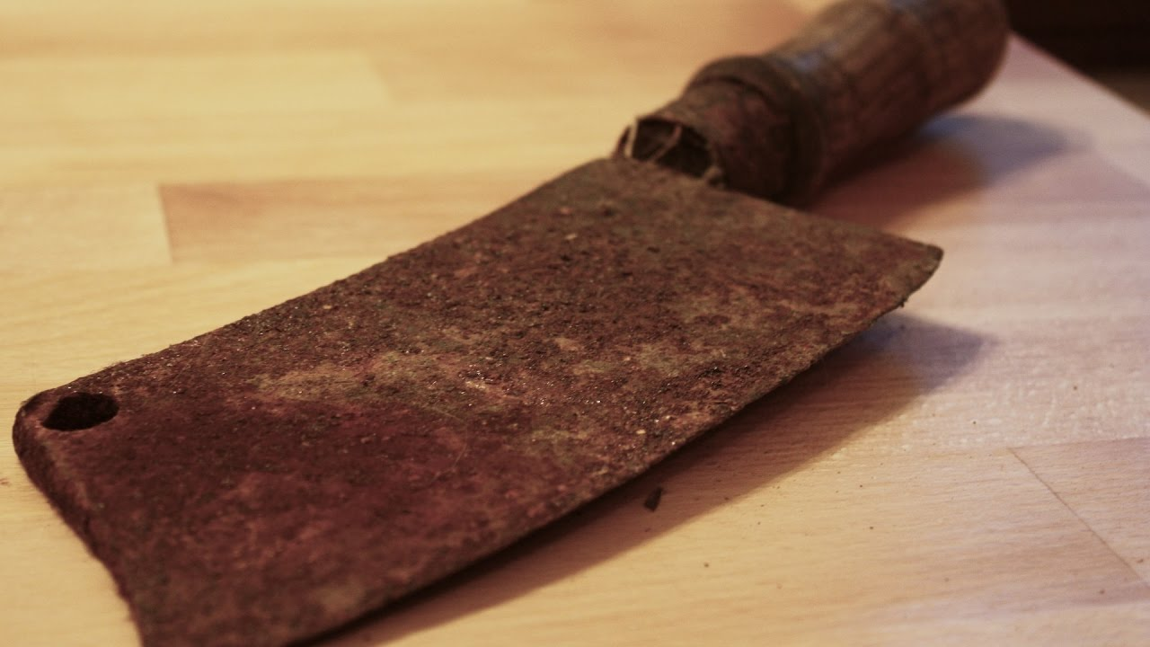 very rusty cleaver knife restoration step by step diy youtube