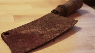 Very rusty cleaver (butcher's knife) restoration - step by step DIY thumbnail