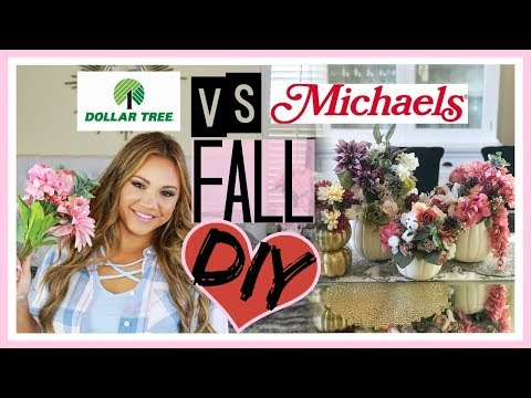 Dollar Tree Vs Michaels DIY! Fall Pumpkin Flower Centerpiece