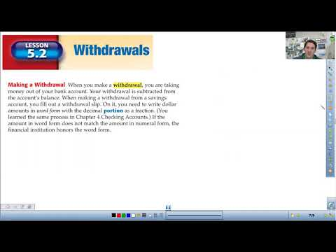 Financial Math 5.1-5.2 Savings Deposits and Withdrawals