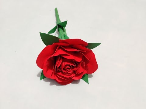 Paper art and craft, paper work,How to make easy rose flower with paper , origami flower, DIY paper