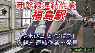 【連結作業 新幹線】「やまびこ」と「つばさ」 入線~連結作業~発車まで 2018.8.25 福島駅で撮影