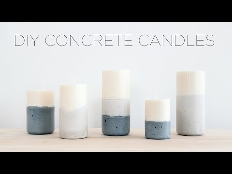 DIY Candles with Concrete Bases