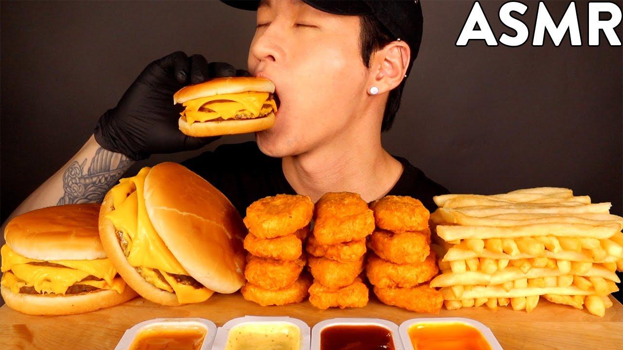 ASMR TRIPLE CHEESEBURGERS & CHICKEN NUGGETS MUKBANG (No Talking) EATING SOUNDS | Zach Choi ASMR