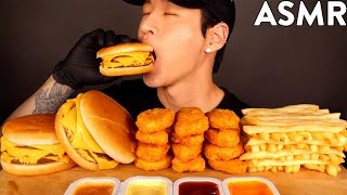 ASMR TRIPLE CHEESEBURGERS & CHICKEN NUGGETS MUKBANG (No Talking) EATING SOUNDS | Zach Choi ASMR