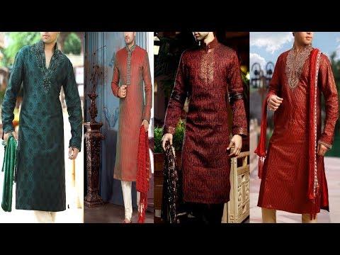 Latest  Mehndi Wear Men Kurta Dress Design Collection 2018