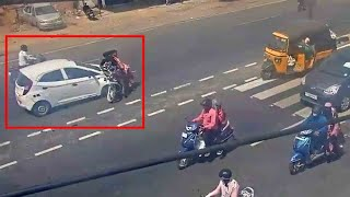 Girl funny car driving to accident in road