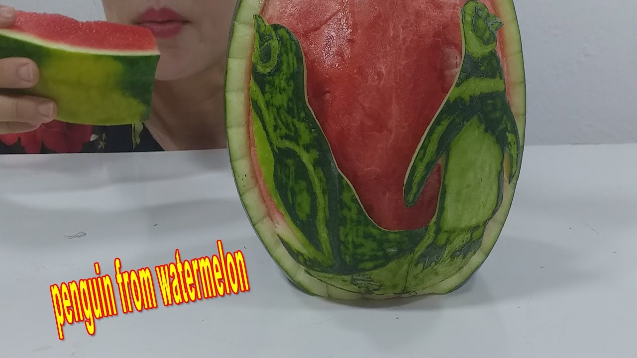 ASMR* The art of penguin trimming on watermelon( eating sounds) no talking | VI ASMR