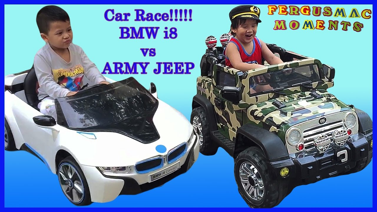 Kiddie Ride On For Kids Car Bmw I8 Vs Army Jeep Race And Fun Play