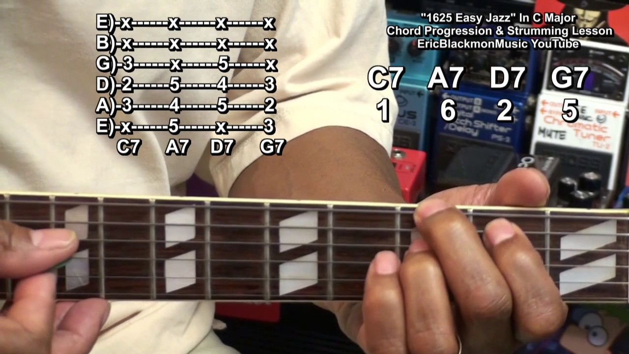1625 Easy Jazz Guitar Chord Progression How To Play Lesson