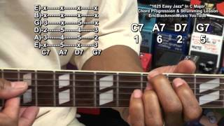 1625 EASY JAZZ Guitar Chord Progression How To Play Lesson EricBlackmonGuitar HD Resimi