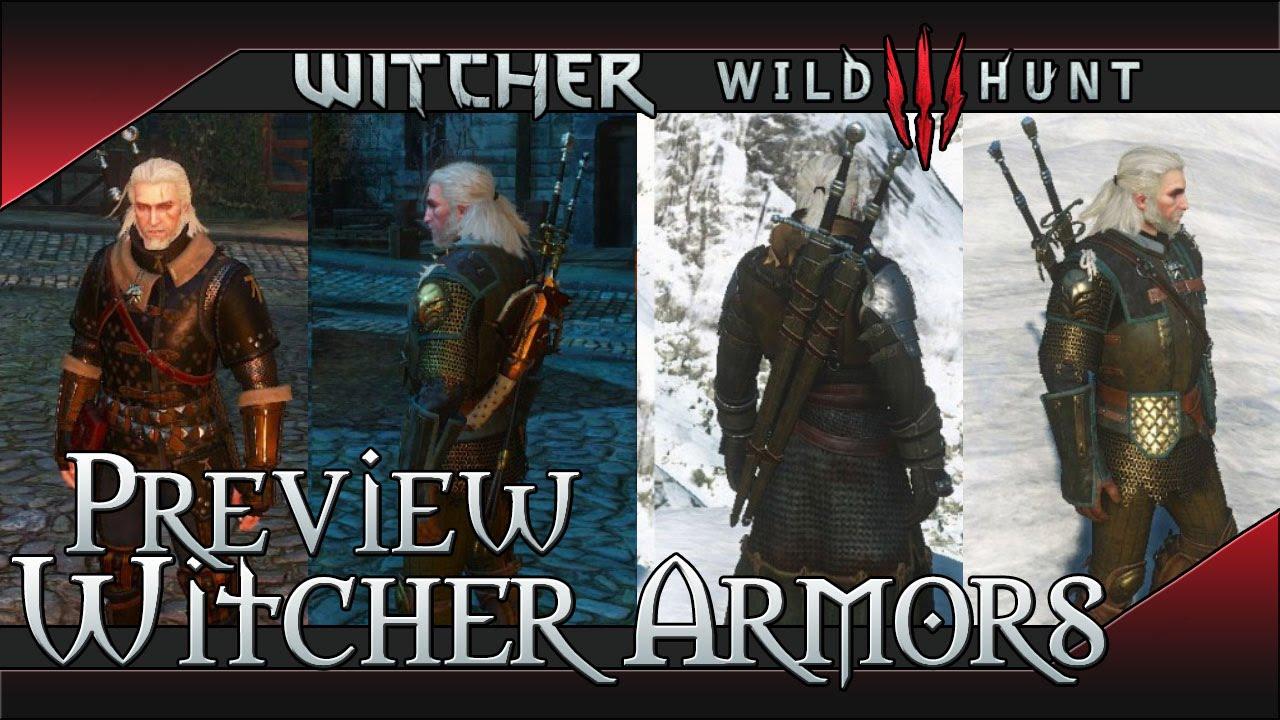 All Witcher 3 Wild Hunt Armor Preview Griffin Feline Cat Ursine Bear All Levels Youtube