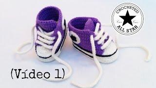 Repeat youtube video Patucos bebé All Star a crochet (Parte I)