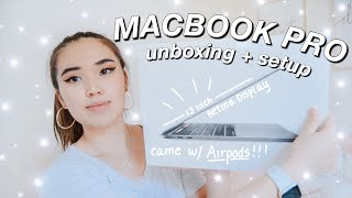 "UNBOXING AND SETTING UP MY NEW 13"" MACBOOK PRO 2020 // *came with Airpods!!*"