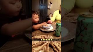 Funny baby reaction