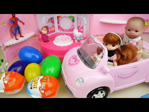 Thumbnail: Baby doll pink car and surprise eggs toys bag play