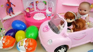 Baby doll pink car and surprise eggs toys bag play