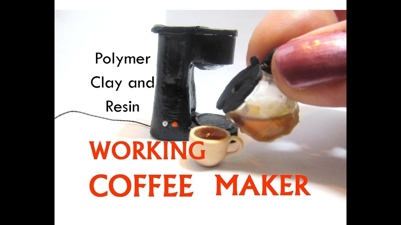 "polymer clay and resin ""working"" coffee maker dollhouse miniature"