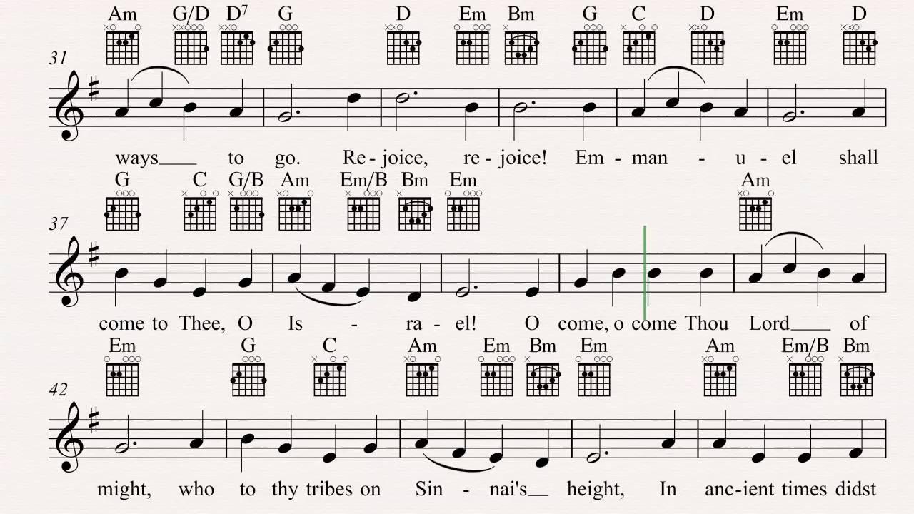 Guitar O Come O Come Emmanuel Christmas Carol Sheet Music