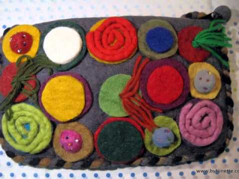 Vintage Handmade Felted Wool Bag  purse, funky colorful, 'Amelie' style