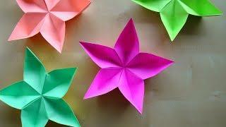 Origami Blume basteln mit Papier - DIY Bastelideen - Deko selber machen
