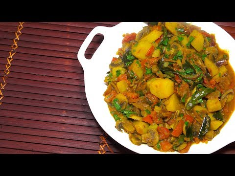 Potato Mushroom Curry - Vegan Recipes - Indian Aloo Masala - Potato Curry - Easy Potato Curry -