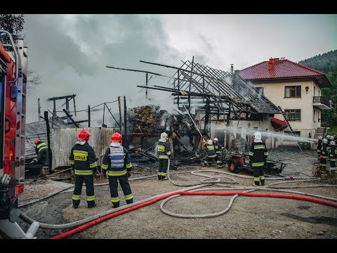 Pożar budynku gospodarczego w Półrzeczkach