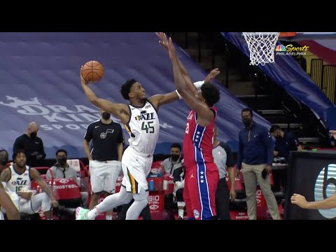 Joel Embiid Laughs At Donovan Mitchell After He Tried To Dunk On Him