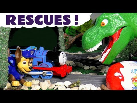 Thomas The Tank Engine and Paw Patrol fun rescue Kinder Surprise Eggs from Dinosaurs for kids TT4U
