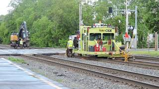 415th Sub Special CSX MOW Crew Replacing Old Rail On South Side Of Track Two In Fairport, NY 5-29-17
