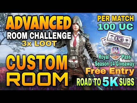 PUBG MOBILE LIVE || ADVANCED CUSTOM ROOM || 😍100 UC GIVEAWAY & ROYALPASS || UNLIMITED CUSTOM ROOMS from YouTube · Duration:  3 hours 55 minutes 46 seconds