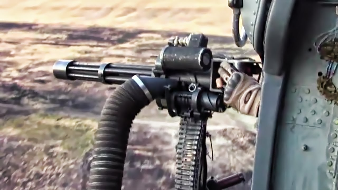 Helicopter Miniguns in Action