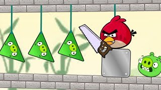 Angry Birds Pigs Out - FORCE ALL SPIDER TRIANGLE PIGS BY CUTTING ROPE!