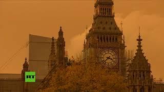 Cielo apocalíptico en Londres tras el paso del huracán Ophelia