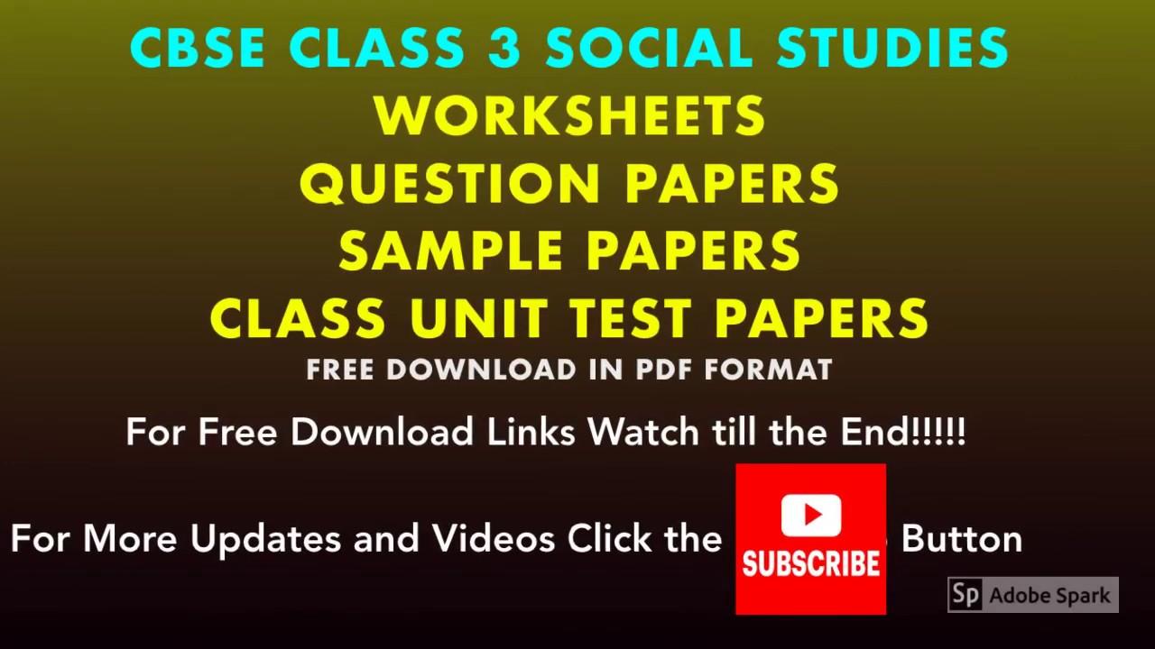 Social Studies Worksheets for CBSE Class   3rd Grade SST PDF Downloads -  YouTube [ 720 x 1280 Pixel ]