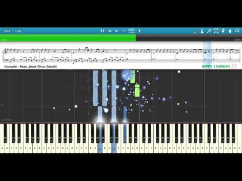 HUMSAFAR (Badrinath Ki Dulhania) || Piano Tutorial + Music Sheet + MIDI with Lyrics