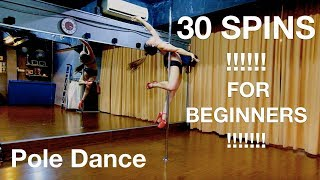 The best Pole dance : 30 Spins for Beginners + Combos #JiaYingPoleJourney Malaysia