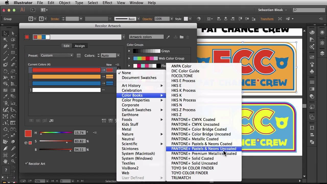 Book color illustrator - Adobe Illustrator Cc 2014 Recolor Artwork Pantone Spot Colors N S L Week 161 Youtube