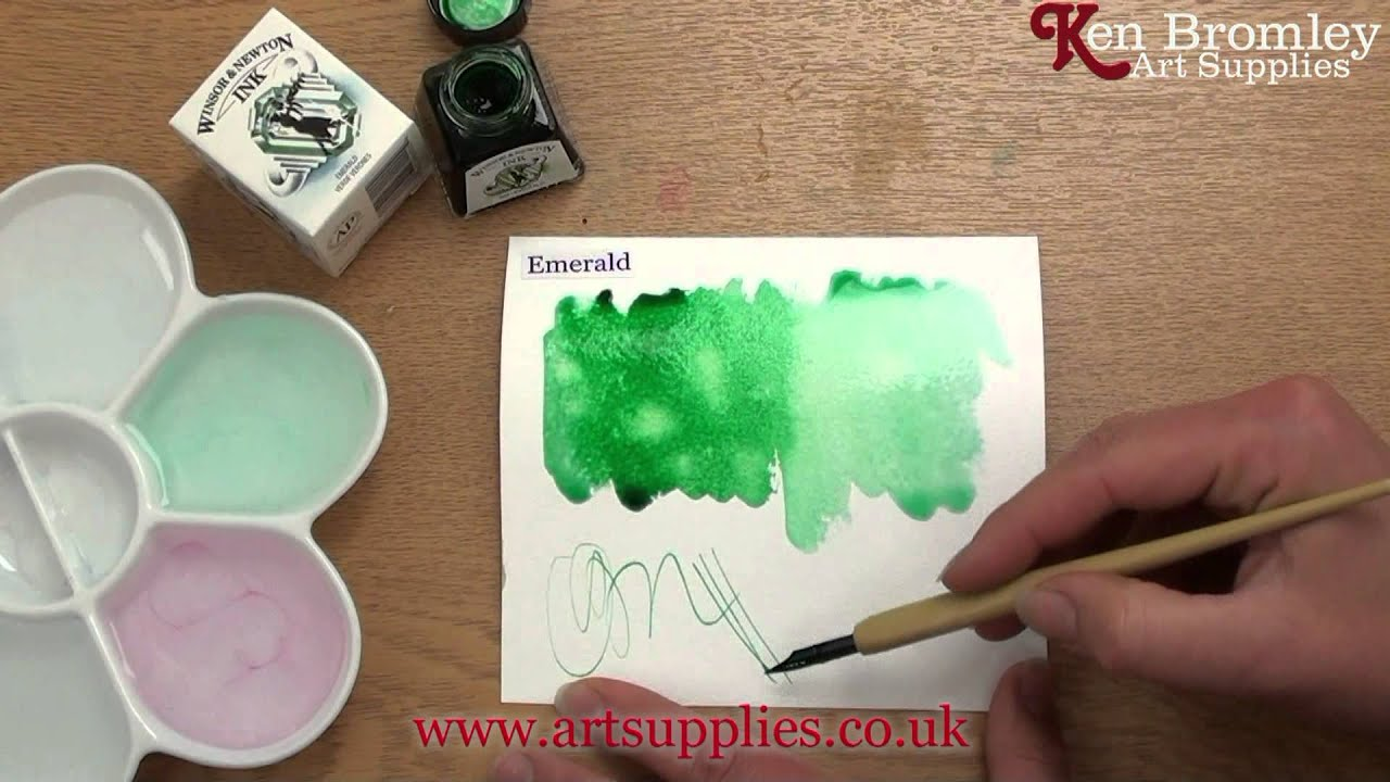 Winsor & Newton Drawing Ink Emerald 235 - YouTube