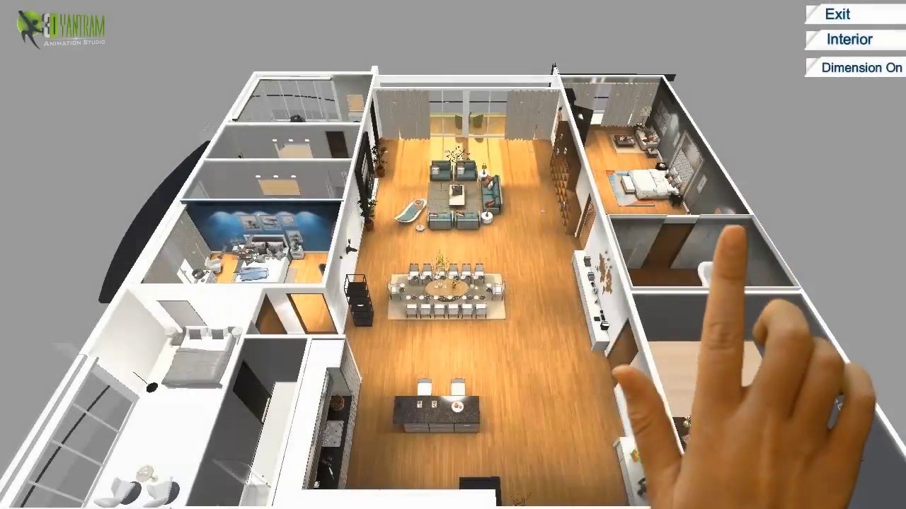 Virtual Reality Floor Plan Design For Touch Screen , VR