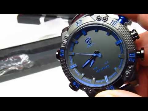 a07a99b2adaa Мужские часы SHARK LED Digital Blue Sport Watch - YouTube