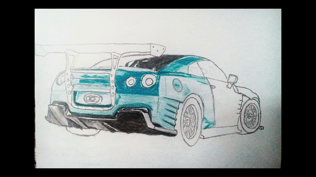 how to draw nissan gtr step by step car drawing - YouTube