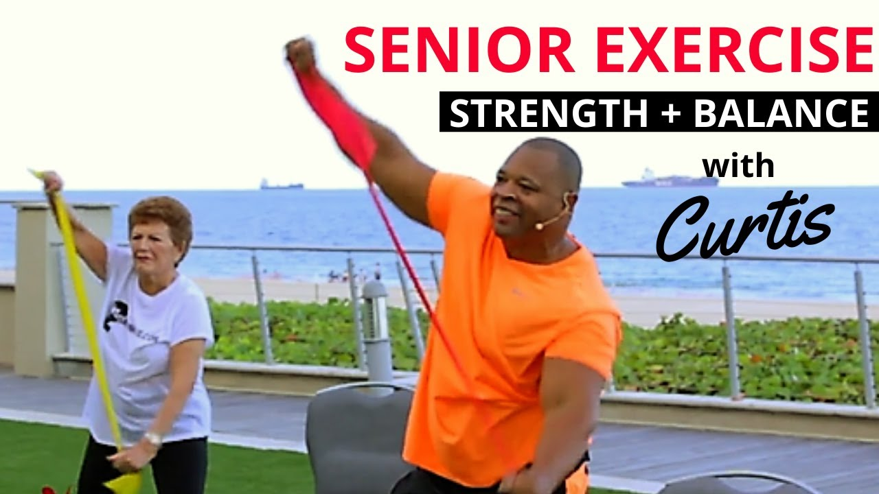 graphic about Printable Resistance Band Exercises for Seniors called Senior resistance band workouts with equilibrium and Wellbeing