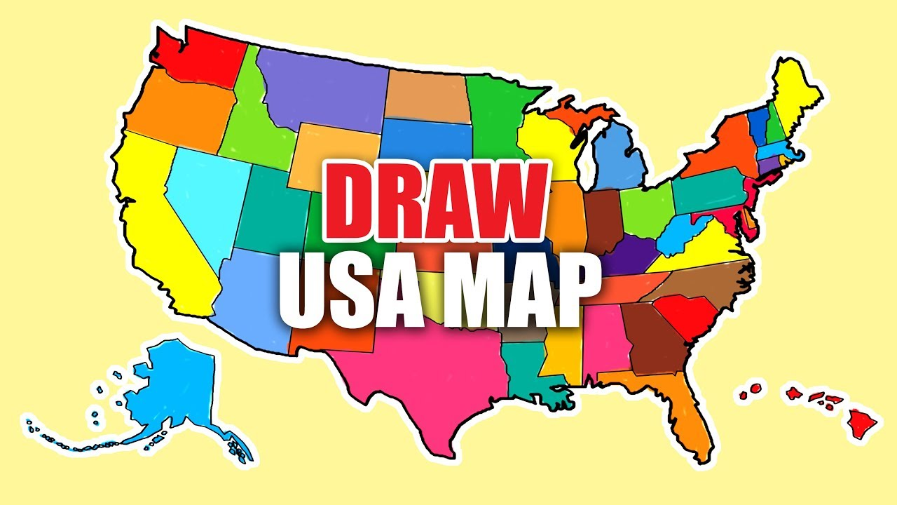 How To Draw Map Of Usa Usa Map United States Map Youtube